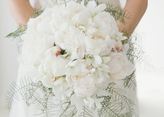 White peonies with hint of pink + delicate ferns - CJ Williams Photography