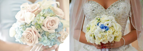 Wedding bouquet with a touch of blue.